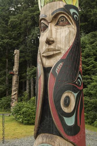 Fotografie, Obraz  Totem poles in Sitka Nat Historical Park;  Sitka, Alaska