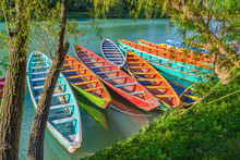 Colorful Canoes In Tamul River...