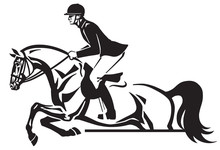 Horse And Rider Jumping Over An Obstacle .Equestrian Sport Competition. Side View Black And White Vector Illustration Logo Design