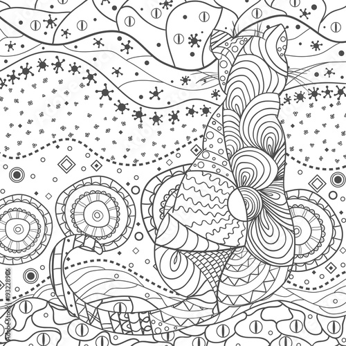 Cat Wallpaper Design Zentangle Hand Drawn Zen Square Mandala With