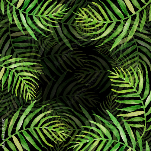 Wall Murals Tropical leaves Watercolor Palm leaf background. Green on black watercolor hand drawn illustration. Green tropical palm leaf. watercolor watercolor card, postcard, invitation