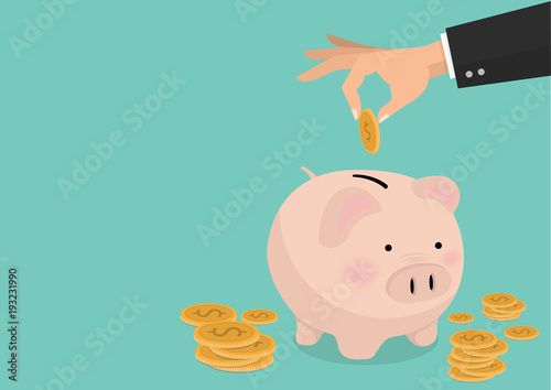 flat illustration Hand putting coin a Piggy bank money savings concept of growth Fotobehang