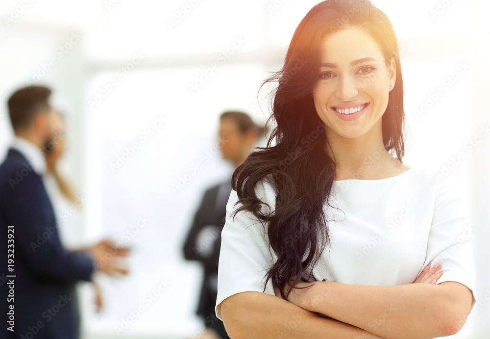 Fototapeta closeup. Executive woman in the office