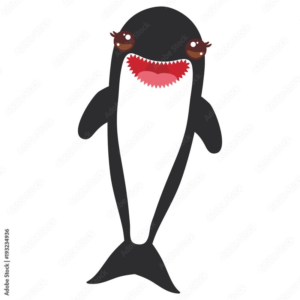 Cartoon grampus orca, killer whale, sea wolf Kawaii with ...