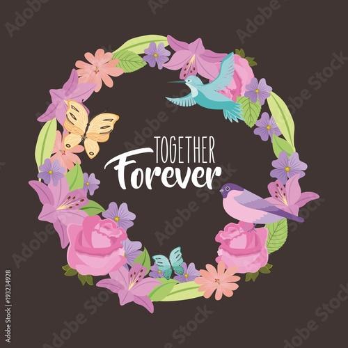 Fotografie, Obraz  together forever weath flowers bird butterfly black background vector illustrati
