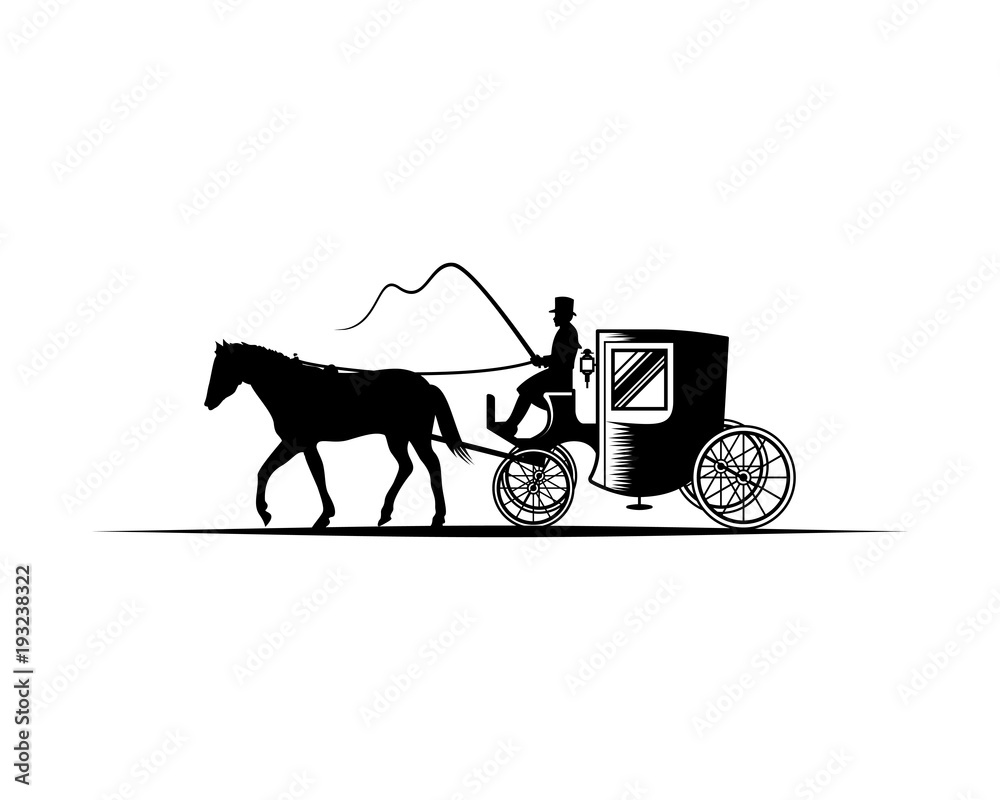 Fototapeta Horse-Drawn carriage with the Coachman Illustration Hand Drawing Symbol Logo Vector