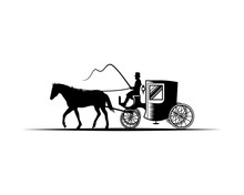 Horse-Drawn Carriage With The Coachman Illustration Hand Drawing Symbol Logo Vector