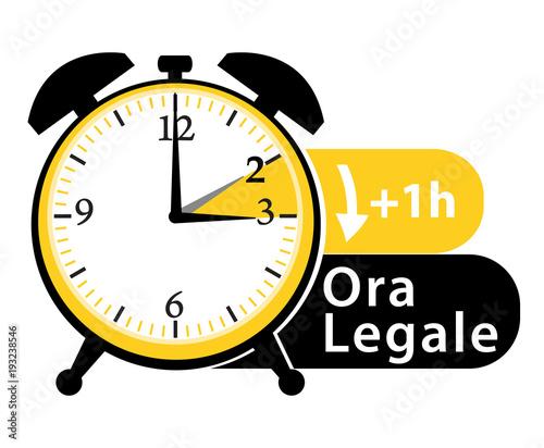 Cambio di orario. Ora legale; Sveglia. Vector icon. Canvas Print