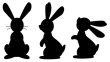 Funny Rabbit Black Isolated Silhouette On White Background