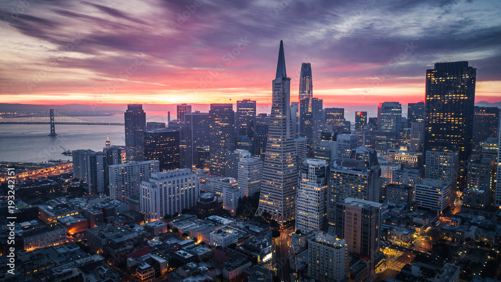 Fototapety, obrazy: San Francisco Skyline at Sunrise