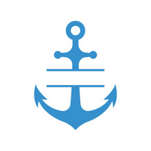 Nautical Anchor With Split Monogram Isolated On White Background. Blue Sulhouette. Vector