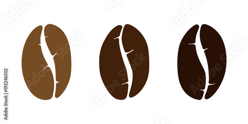 Brown coffee bean isolated set on white background Fotobehang