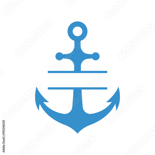 Photographie Nautical anchor with split monogram isolated on white background