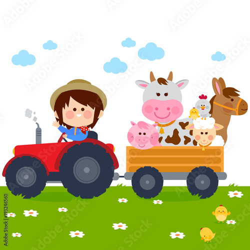 Farmer boy driving a tractor and carrying farm animals. Wallpaper Mural