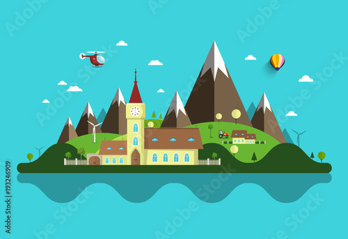 Flat Design Landscape. Abstract Vector Rural Scene with Castle and Mountains.