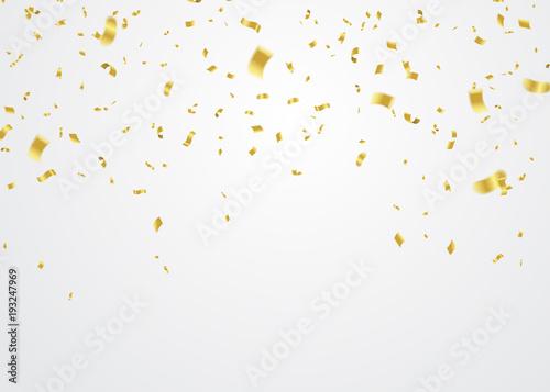 Obraz Golden Confetti Falling On White Background. Vector Illustration - fototapety do salonu