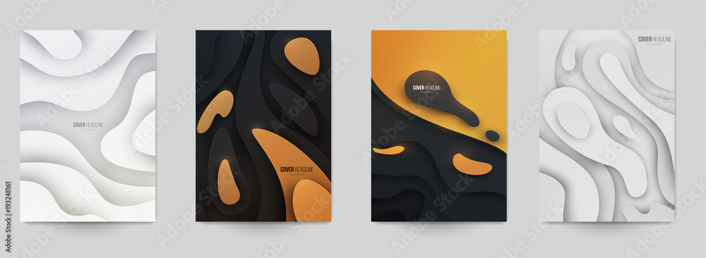 Fototapeta Set of minimal template in paper cut style design for branding, advertising with abstract shapes. Modern background for covers, invitations, posters, banners, flyers, placards. Vector illustration.