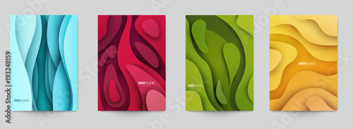 Canvas Print Set of minimal template in paper cut style design for branding, advertising with abstract shapes