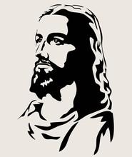 Jesus Face Silhouette, Art Vec...