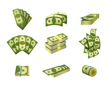 Collection Of Dollar Bills. Green Banknotes. American Cash. Banking Currency. Paper Money. Concept Of Financial Success, Investment Or Wealth. Flat Vector Design