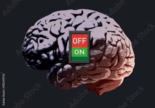 cerveau - Interrupteur - concept - intelligence - mort, burn-out, mentale, malad Canvas Print