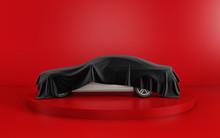 New White Car Hidden Under Black Cover On Red Background. 3d Render