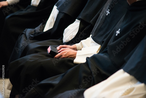 Dominican monks, detail of the monastic habit, monastic order of the Catholic Ch Wallpaper Mural
