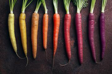Close up of carrots arrange...