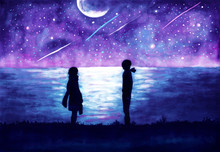 Romantic Illustration. Silhouettes Of A Girl And A Guy Against A Background Of A Night Landscape.