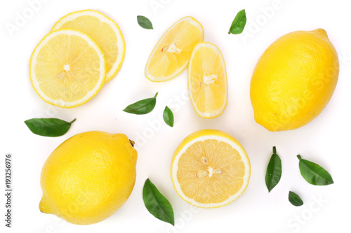 Fotografía lemon and slices with leaf isolated on white background
