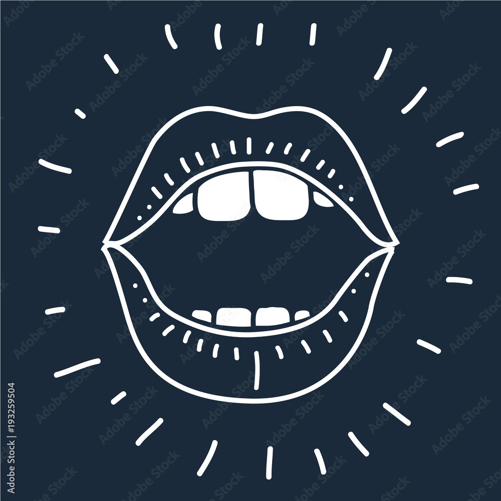 Fototapety, obrazy: cartoon vector outline illustration human mouth open