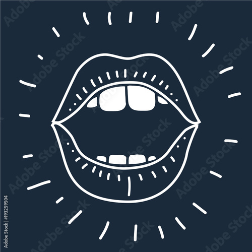 Valokuvatapetti cartoon vector outline illustration human mouth open