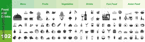 Fotografie, Obraz  Food and Drinks, 102 Iconset (Green)