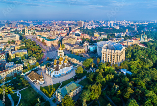 Photo Stands Kiev Aerial view of St. Michael Golden-Domed Monastery, Ministry of Foreign Affairs and Saint Sophia Cathedral in Kiev, Ukraine