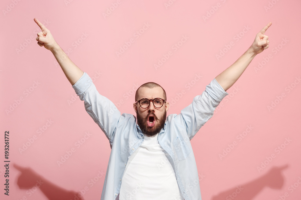 Fototapety, obrazy: Winning success man happy ecstatic celebrating being a winner. Dynamic energetic image of male model
