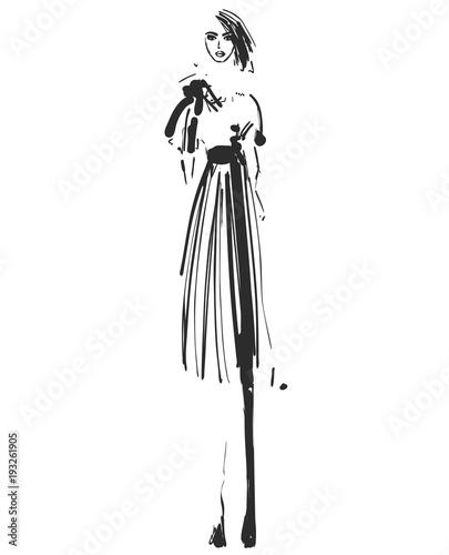 Beautiful Young Girl For Design Fashion Model Sketch Drawing Buy