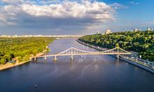 Aerial View Of The Dnieper With The Pedestrian Bridge In Kiev, Ukraine