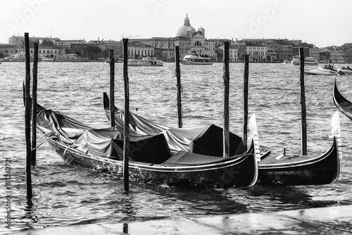 Foto op Canvas Gondolas Parked gondolas in Venezia
