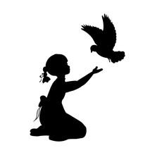 Silhouette Girl Bird Pigeon Wo...