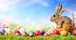 Leinwanddruck Bild - Little Bunny In Basket With Decorated Eggs - Easter Card