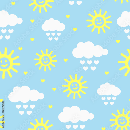 Fototapeta Cute seamless pattern with clouds, raindrops, hearts and smiling sun. Drawn by hand. obraz na płótnie