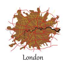 Flat Color Map Of London, Unit...
