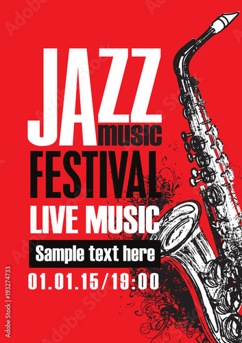In de dag Muziekband Vector poster for a jazz festival of live music with saxophone and abstract artistic swirls on a red background