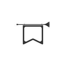 Bugle With Flag Icon. Detailed Icon Of Musical Instrument Icon. Premium Quality Graphic Design. One Of The Collection Icon For Websites, Web Design, Mobile App