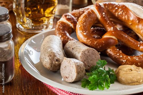 Bavarian breakfast with white sausage