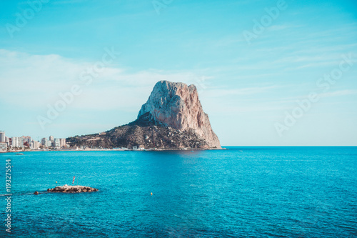 View to Mediterranean Sea, Ifach rock and Calpe city in Costa Blanca, Spain