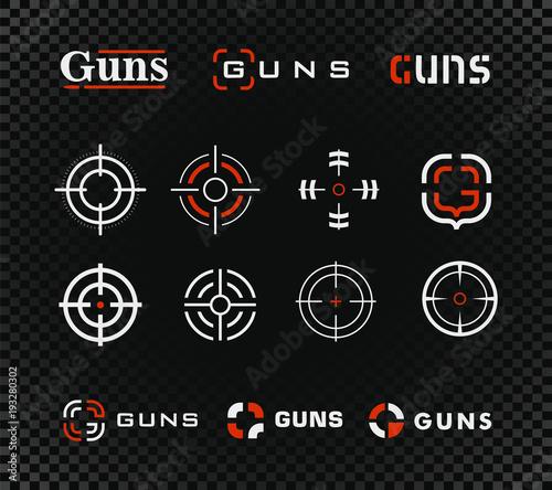 Cuadros en Lienzo  Shooting range vector template and icon collection