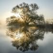 Leinwandbild Motiv Sonnenaufgang am Fluß mit Morgennebel