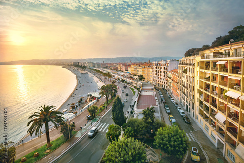 Poster Lieu d Europe Cityscape of Promenade des Anglais in Nice in evening at sunset. France
