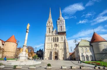 Katedrala i spomenik Blažene Djevice Marije u Zagrebu. Hrvatska